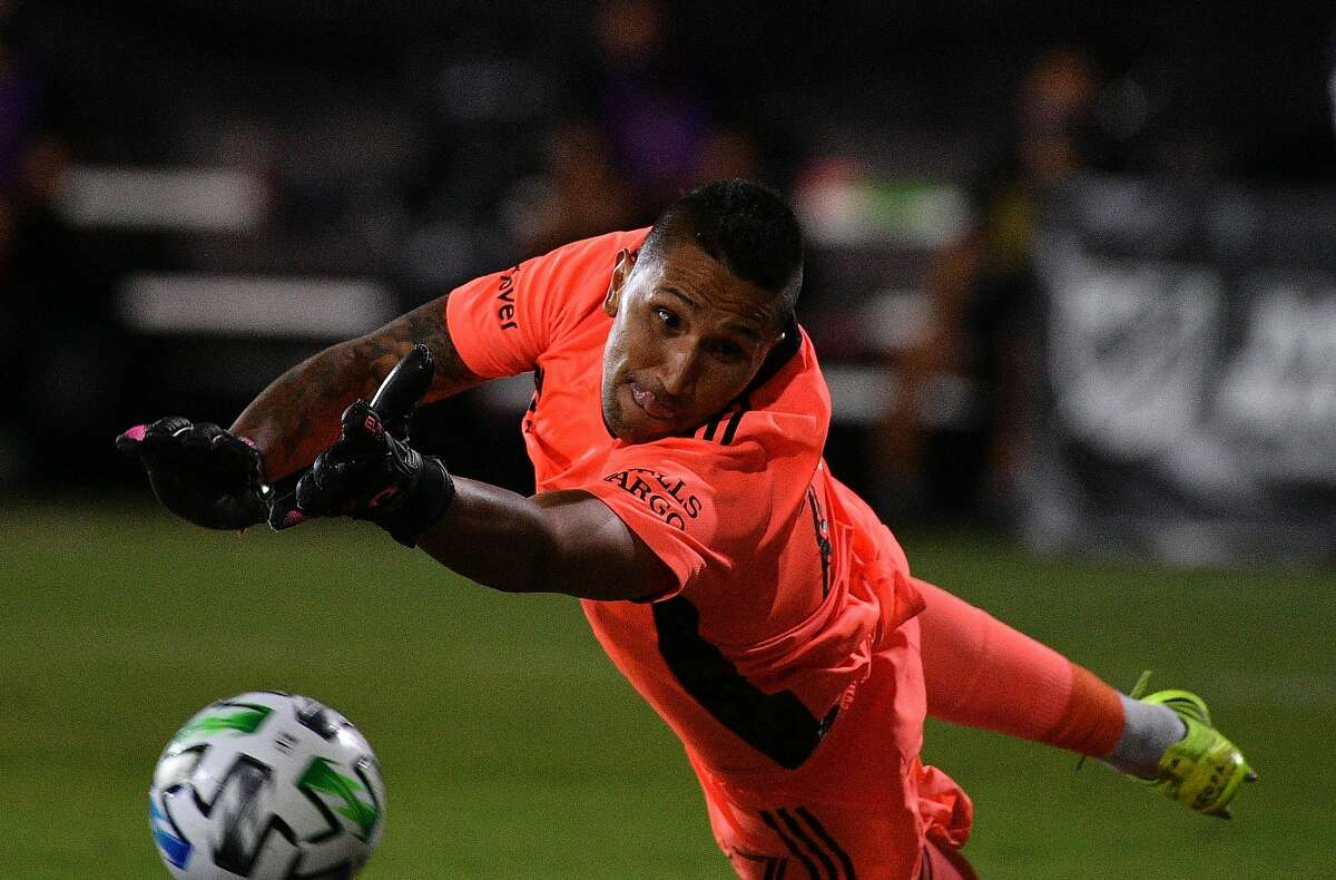 REUNION, FLORIDA - JULY 19: Daniel Vega #17 of San Jose Earthquakes attempts to makes a save against Chicago Fire FC during a Group B match as part of MLS is Back Tournament at ESPN Wide World of Sports Complex on July 19, 2020 in Reunion, Florida. (Photo by Mark Brown/Getty Images)