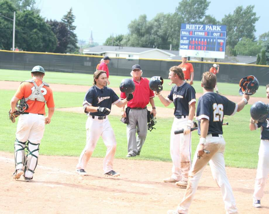 The Manistee Saints split a four-game series with the Midland Tribe Sunday at Kliber Field over the weekend. Photo: Kyle Kotecki/News Advocate
