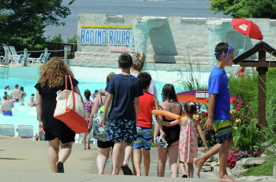 Raging Rivers WaterPark limits crowd size to 1,500 people — half of its normal capacity — due to COVID-19 precautions. Other protective measures include numerous hand sanitizer stations, significantly increased numbers of cleaning staff along with rigorous cleaning regimens, social distancing in all queue lines, disinfecting of pools and hot tubs during off hours with chlorine and bromine, and regular safety messages played over the park's public address system. Photo: David Blanchette|For The Telegraph