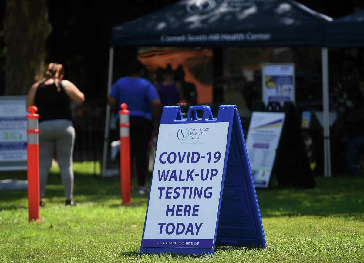 Walk up Covid-19 testing at the Newhallville United 2020 rally at Lincoln Bassett Park in New Haven, Conn. on Sunday, July 26, 2020.
