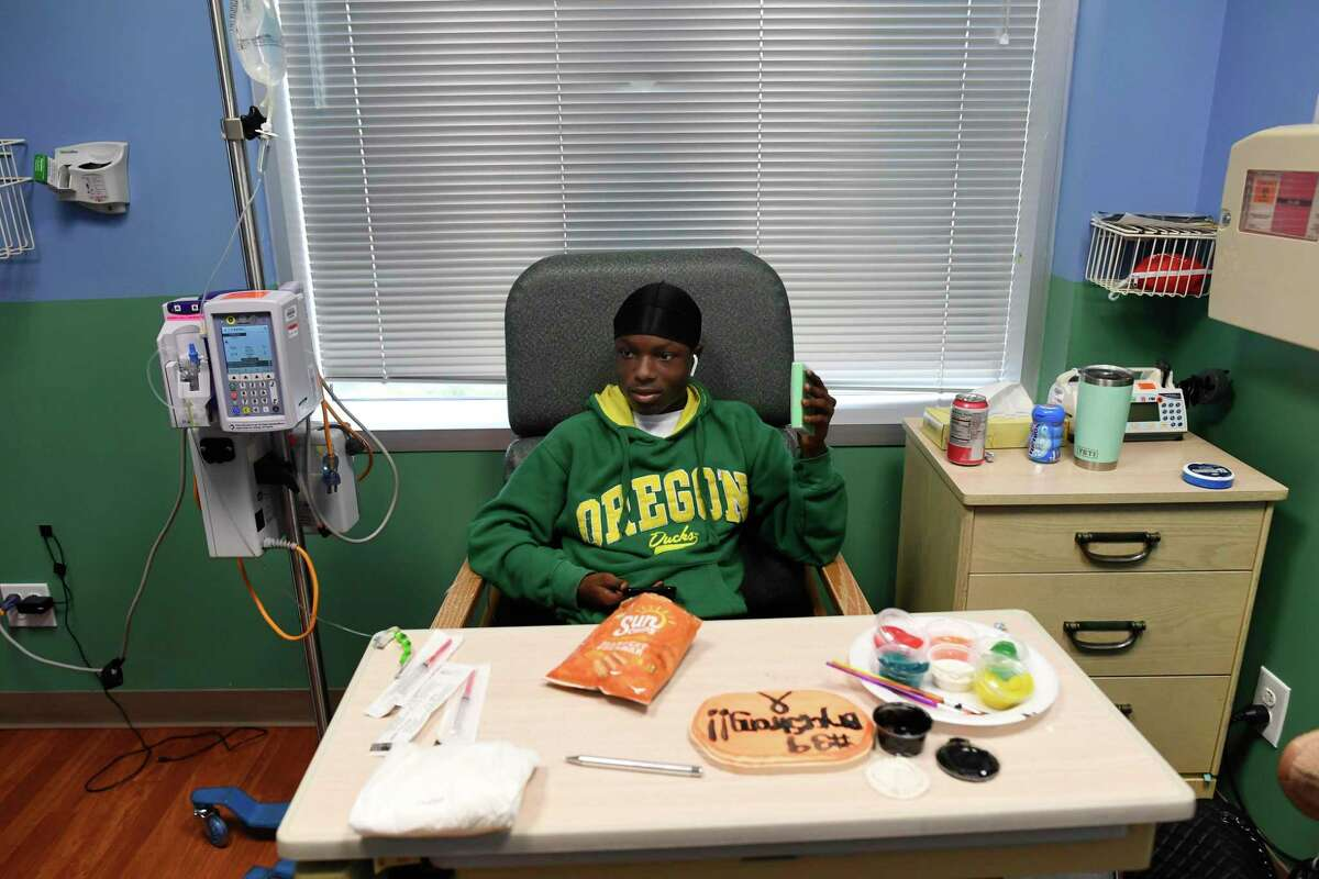 Bryce Wisdom prepares for chemotherapy on Thursday, Oct. 17. 2019.