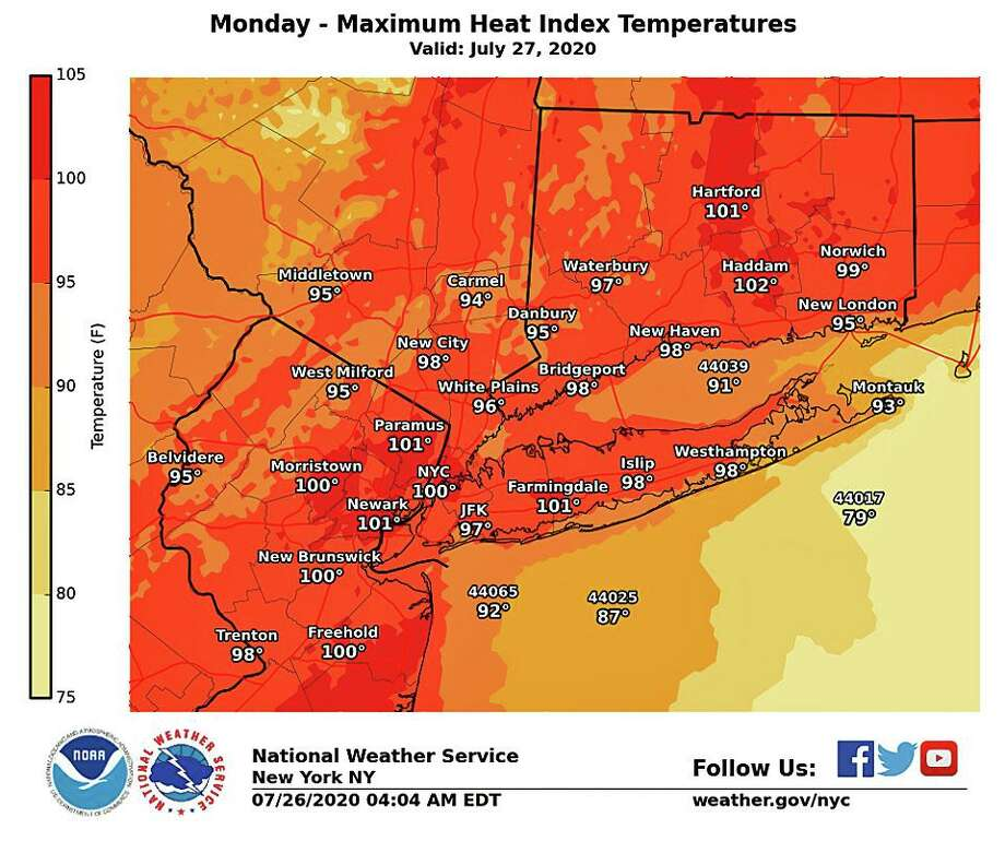With hot temperatures and high humidity, the National Weather Service has issued a heat advisory through Tuesday, July 29, 2020. A Heat Advisory is issued when the combination of heat and humidity is expected to make it feel like it is 95 to 99 degrees for two or more consecutive days, or 100 to 104 degrees for any length of time. Photo: National Weather Service