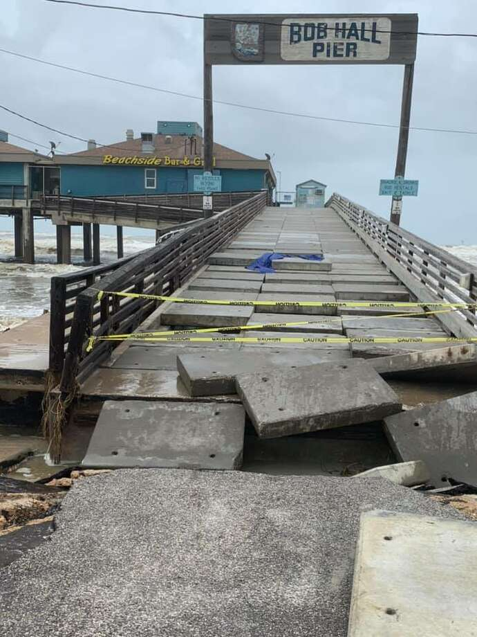 Bob Hall Pier: A portion of Bob Hall Pier in Corpus Christi collapsed due to the stormy conditions caused by Hurricane Hanna over the weekend, according to Nueces County officials. The popular pier will be closed until further notice. Photo: Brent Chesney, Nueces County Commissioner / Facebook
