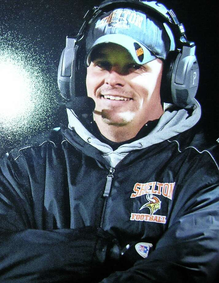 Shelton High School offensive coordinator Michael DeFelice takes a break from the action recently. Photo: Contributed Photo / Connecticut Post contributed