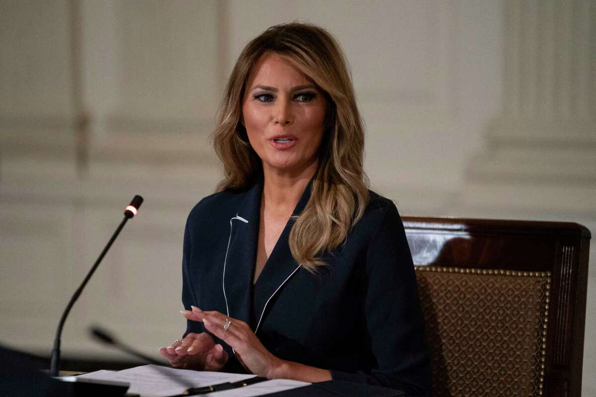 First lady Melania Trump speaks during an Indian Health Service (IHS) Task Force briefing on