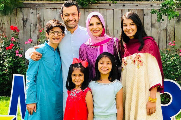 Erum Chishty, right, says the pandemic has prepared her family to look for new ways to celebrate Eid al-Adha. She poses with Ibrahim, from left, Mujtaba, Sarah, Sophia and Aliyah Ali-Khan.
