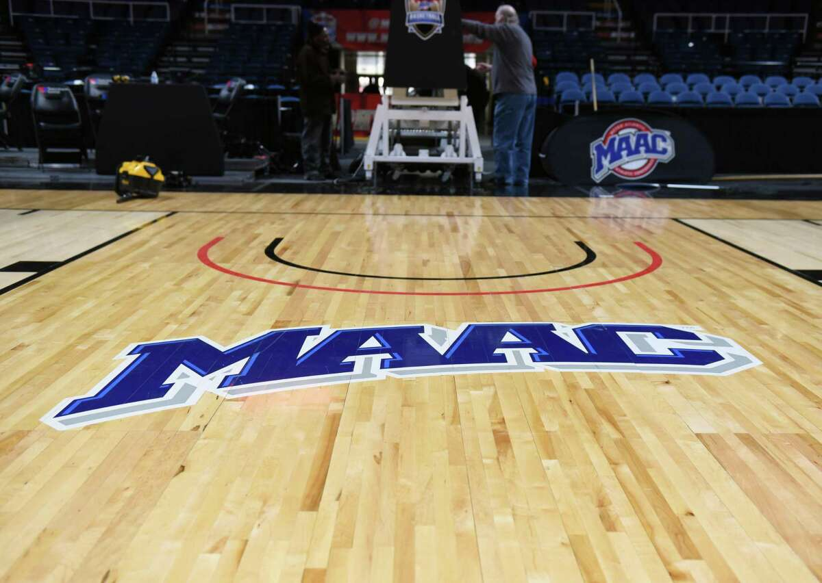 Setup for for the 2019 MAAC men's and women's basketball championships at the Times Union Center in Albany, NY.