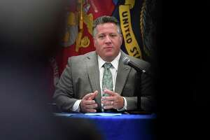 Albany County Executive Dan McCoy holds his daily coronavirus briefing on Monday, July 27, 2020, at the county offices in Albany, N.Y. He was joined by Albany County Sheriff Craig Apple. (Will Waldron/Times Union)