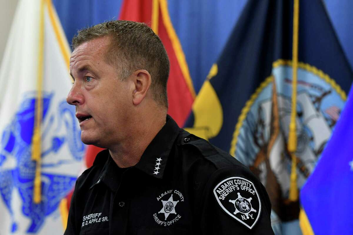 Albany County Sheriff Craig Apple answers questions during Albany County Executive Dan McCoy's daily coronavirus briefing on Monday, July 27, 2020, at the county offices in Albany, N.Y. (Will Waldron/Times Union)