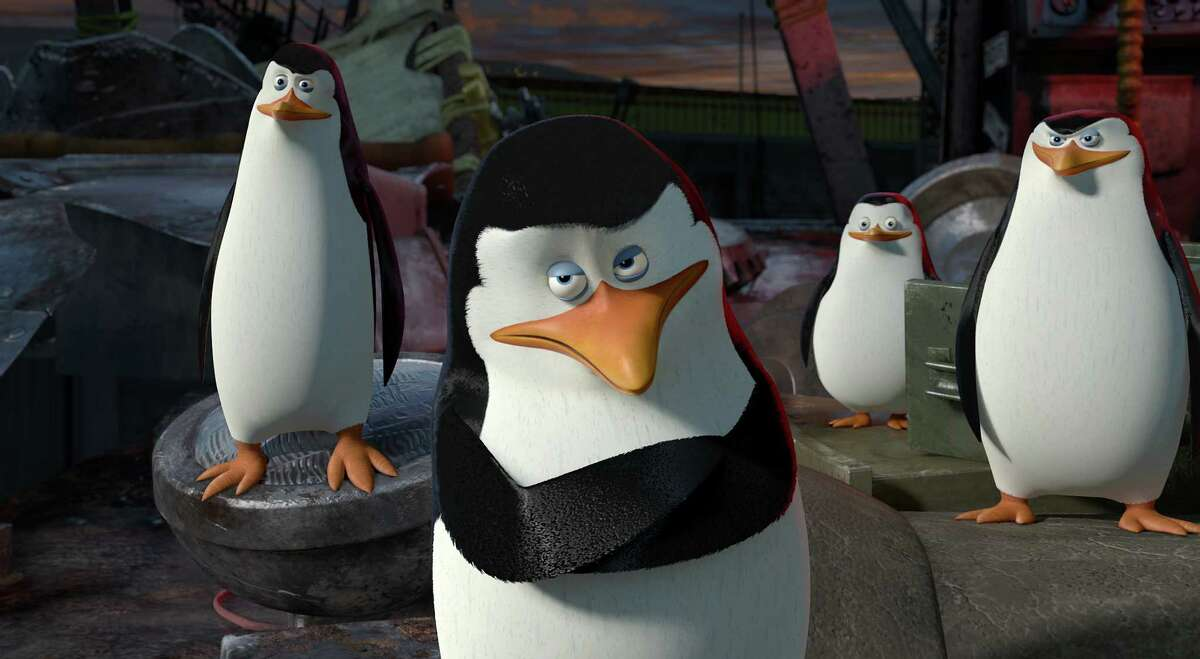 The Penguins (left to right): Kowalski (Chris Miller), Skipper (Tom McGrath), Private (Christopher Knights) and Rico assess the situation in DreamWorks Animation's MADAGASCAR 3: Aƒa€šA'A EUROPE'S MOST WANTED, to be released by Paramount Pictures. MAD3-026