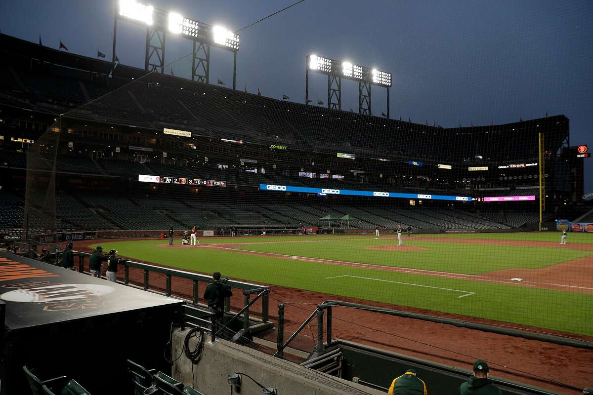 Game action with an empty stadium as the San Francisco Giants played the Oakland Athletics in a summer exhibition game at Oracle Park in San Francisco, Calif., on Tuesday, July 21, 2020.