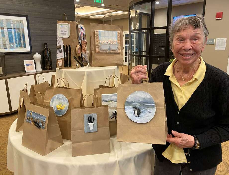 Darien resident Jeanne Walworth is an artist who has created collages from servingware at her senior living facility. Photo: Contributed Photo / Connecticut Post