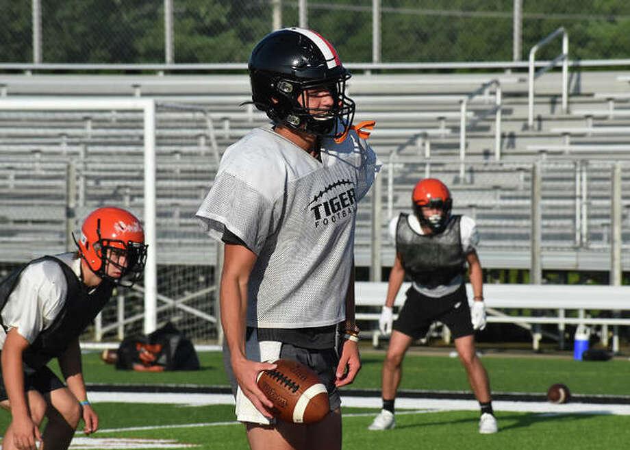 Edwardsville quarterback Ryan Hampton smiles during a practice earlier this summer inside the District 7 Sports Complex. Photo: Matt Kamp|The Intelligencer
