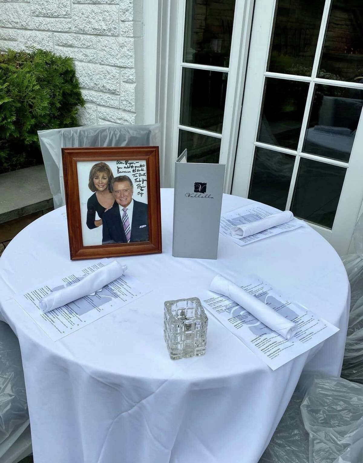Valbella in Greenwich keeps the table open for Regis Philbin on Saturday night. The iconic talk show host was a longtime town resident and regular at the local restaurant. Philbin died Friday at the age of 88.