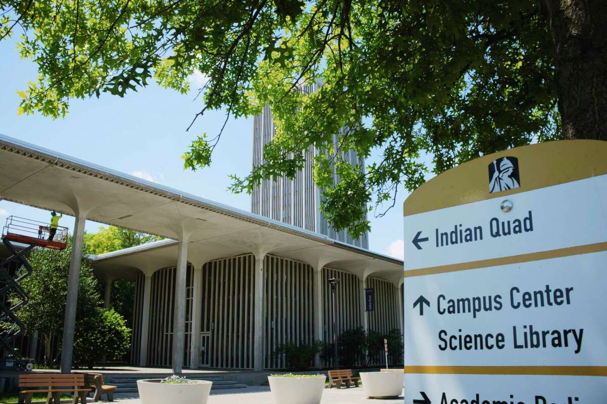 A view of the Indian Quad area on the campus of UAlbany on Monday, July 27, 2020, in Albany, N.Y. (Paul Buckowski/Times Union)