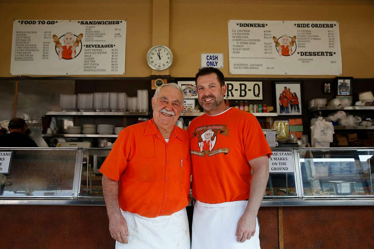 Pete Koutoulas (l to r) and Kosta Koutoulas stand for a portrait at Pete's Bar-B-Que on Mission Street on Wednesday, July 15, 2020 in San Francisco, Calif.