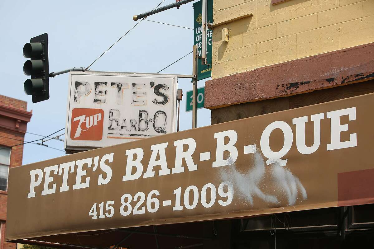 Signage for Pete's Bar-B-Que on Mission Street is seen on the front of the resttaurant on Wednesday, July 15, 2020 in San Francisco, Calif.