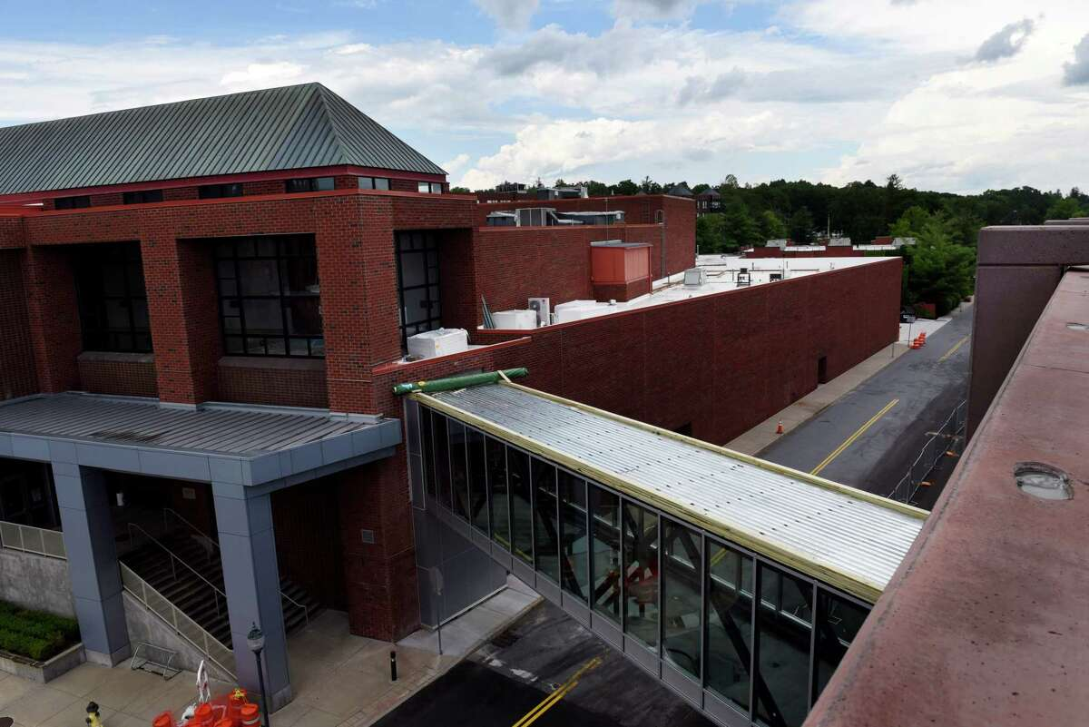 A walkway connects Saratoga's new parking garage to the city center across Maple Avenue on Thursday, July 23, 2020, in Saratoga Springs, N.Y. (Will Waldron/Times Union)