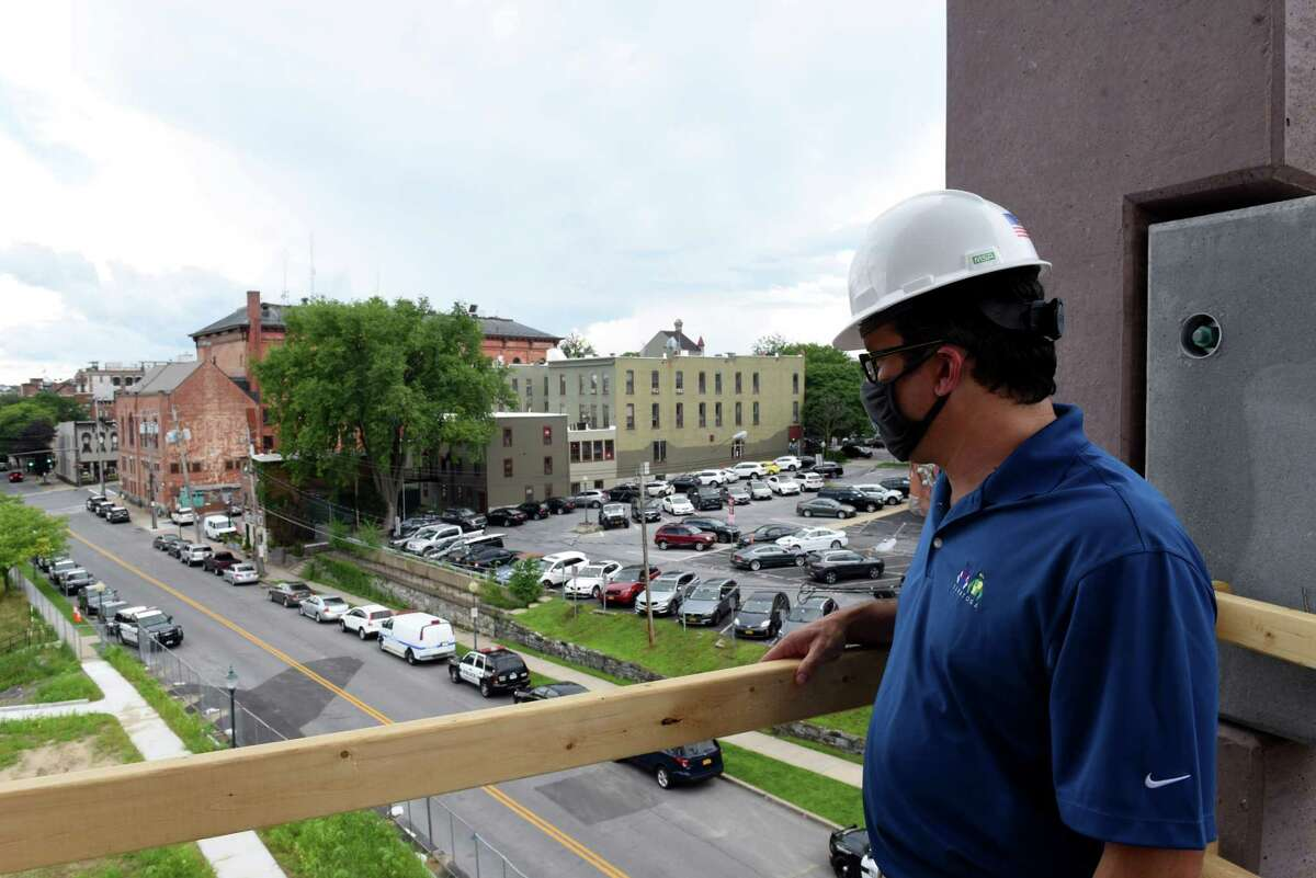 Ryan McMahon, executive Director of the Saratoga Springs City Center, gives a tour of Saratoga's new parking garage on Thursday, July 23, 2020, in Saratoga Springs, N.Y. (Will Waldron/Times Union)