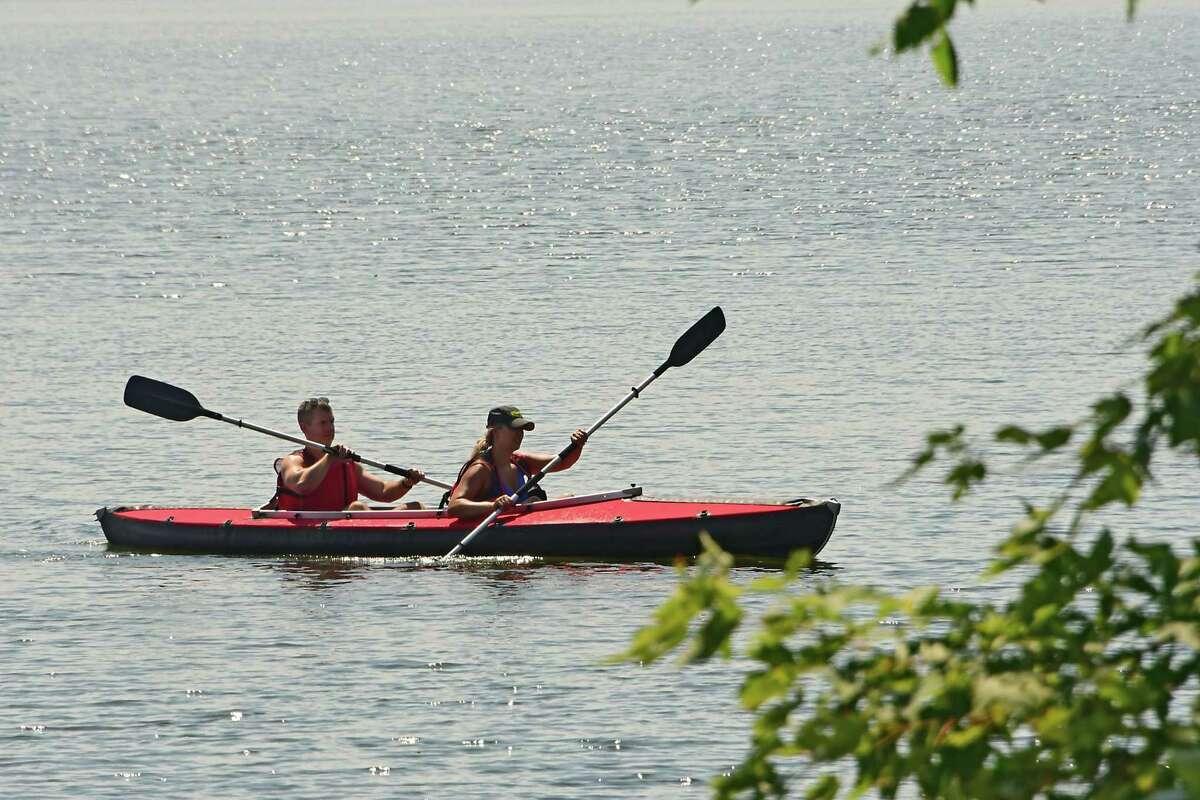 Kayakers are seen paddling on Round Lake on Monday, July 27, 2020 in Round Lake, N.Y. (Lori Van Buren/Times Union)