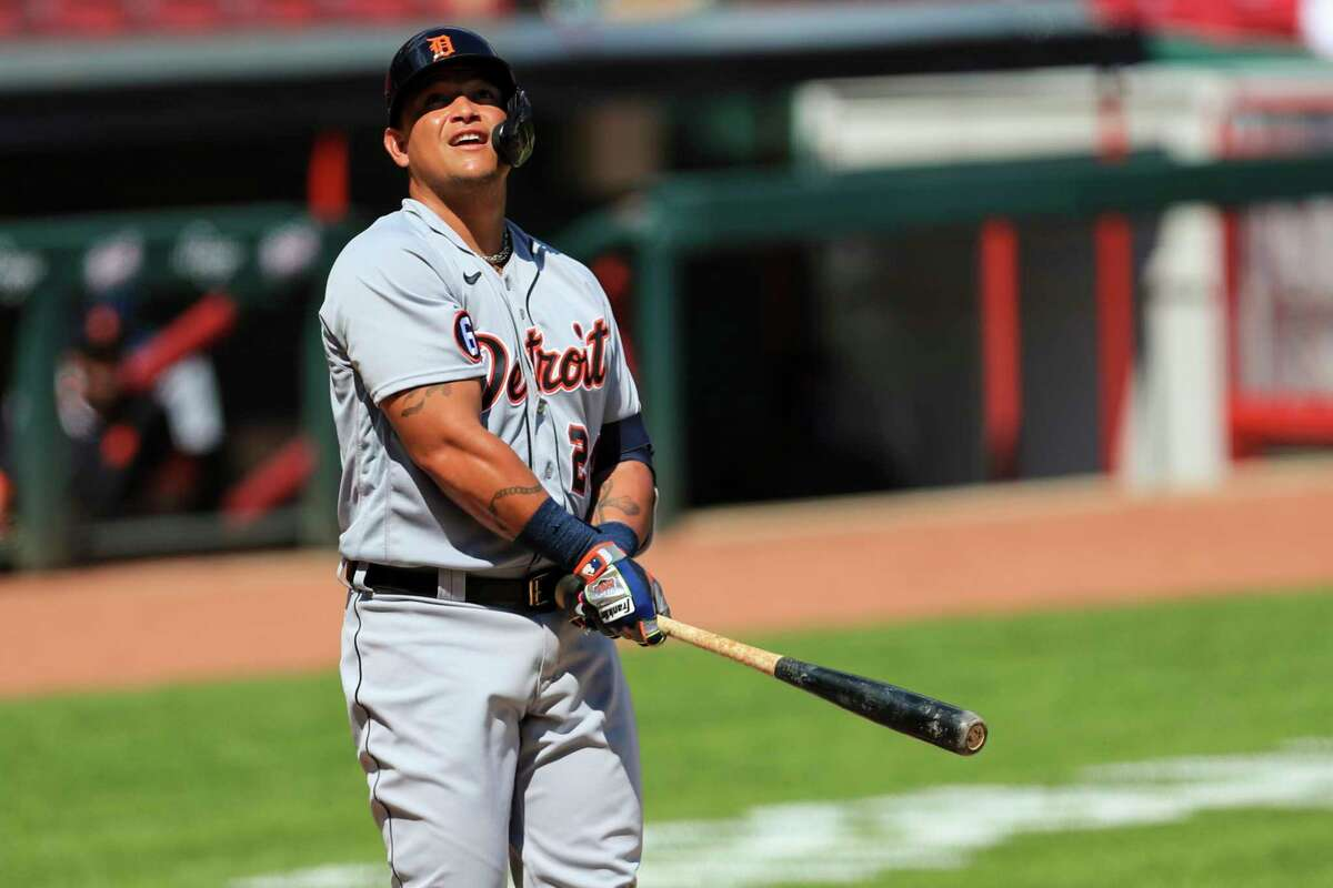 Detroit Tigers' Miguel Cabrera (24) bats during a baseball game against the Cincinnati Reds at Great American Ballpark in Cincinnati, Sunday, July 26, 2020. The Tigers won 3-2. (AP Photo/Aaron Doster)