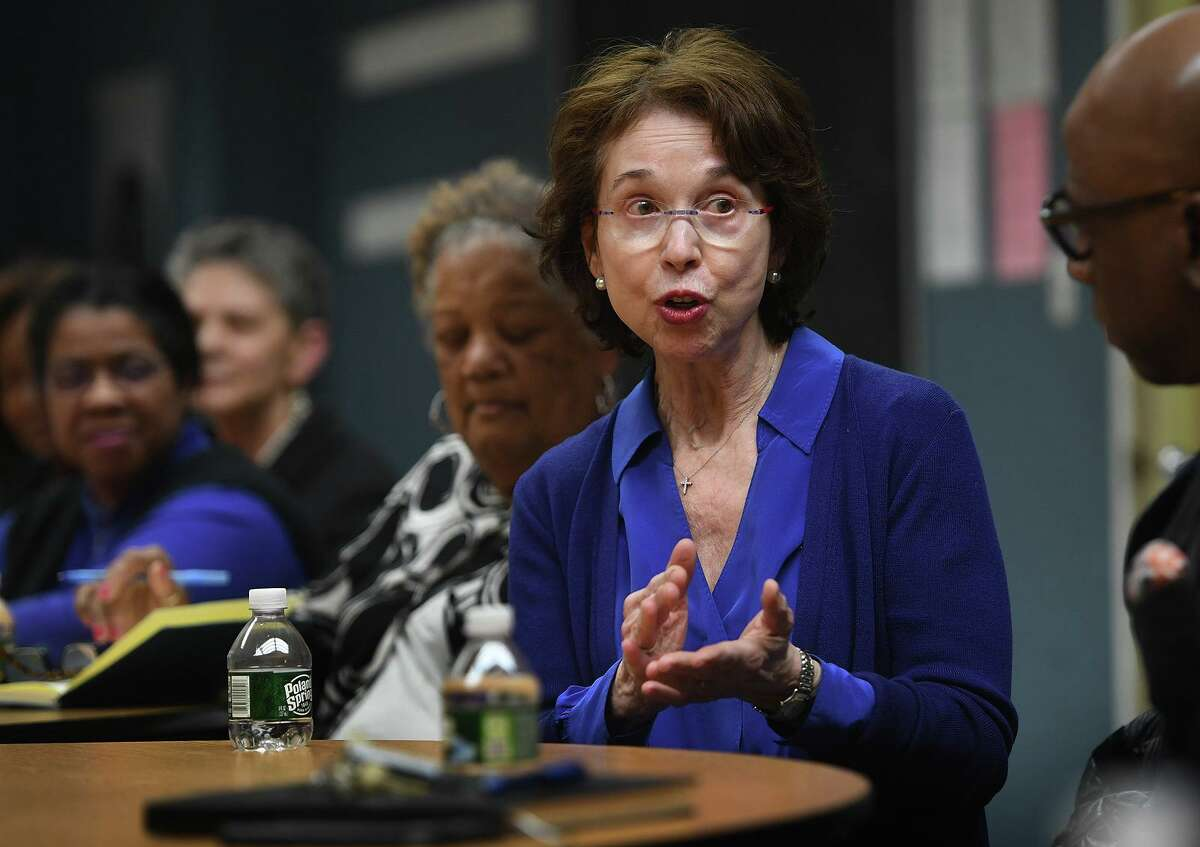 Barbara Dalio met with community members and educators at the Carver Community Center in Norwalk on March 3 to talk about the Partnership for Connecticut, a public-private group aimed at helping education that disbanded in May.