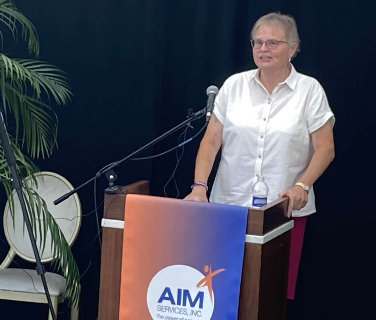 June MacClelland of AIM Services speaks at a press conference in Saratoga Springs on July 27, 2020. (Wendy Liberatore/Times Union)