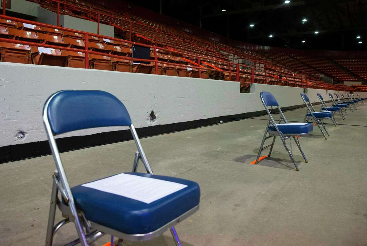 Harris County has been using space at NRG Arena to select grand juries. Potential jurors sit in designated seats that follow the social distancing rules, which is every other row and three seats apart.