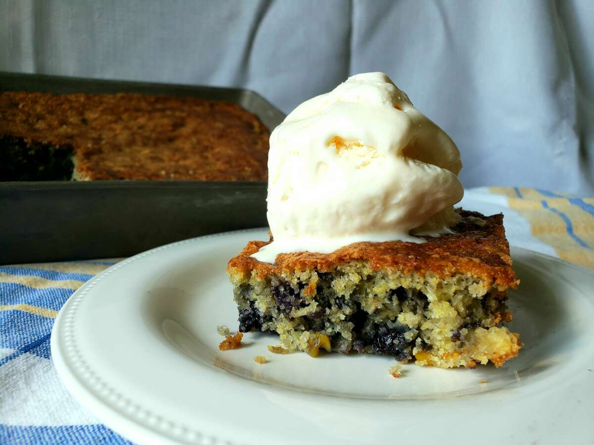Sweet corn and blueberry cake. (And you can use jams swirled in the batter, instead of blueberries.)