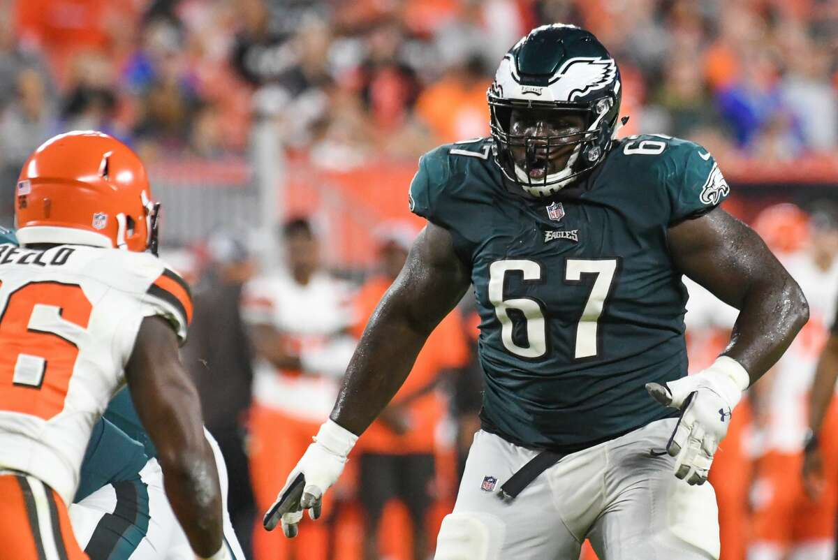CLEVELAND, OH - AUGUST 23, 2018: Offensive guard Chance Warmack #67 of the Philadelphia Eagles prepares to engage a defender in the fourth quarter of a preseason game against the Cleveland Browns on August 23, 2018 at FirstEnergy Stadium in Cleveland, Ohio. Cleveland won 5-0. (Photo by: 2018 Nick Cammett/Diamond Images/Getty Images)