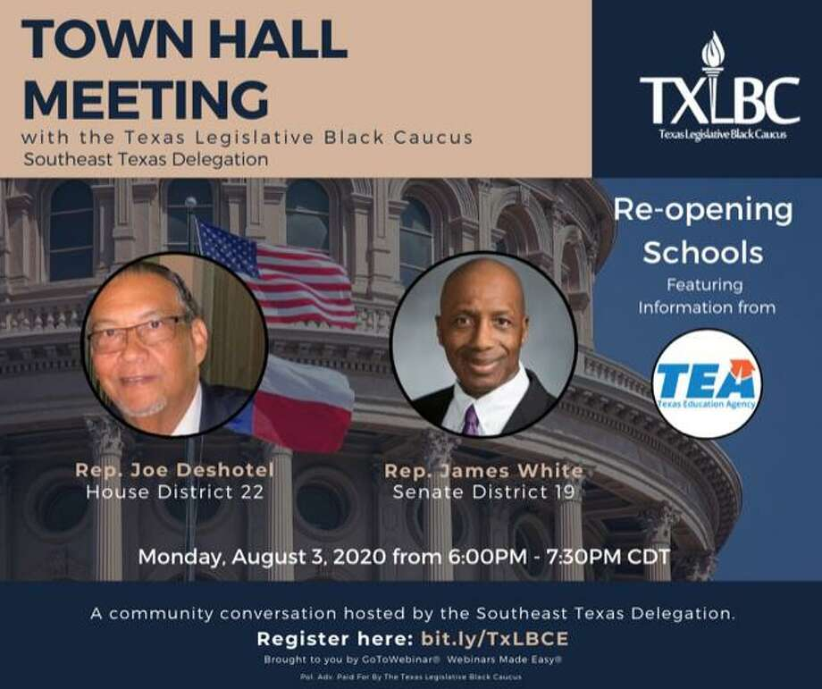 "Two Southeast Texas lawmakers will participate in a virtual town hall  Thursday hosted by the Texas Legislative Black Caucus to ""provide answers and  clarity"" about the statewide discussion over opening schools amid the ongoing  coronavirus pandemic. Photo: Isaac Windes / Texas Legislative Black Caucus"