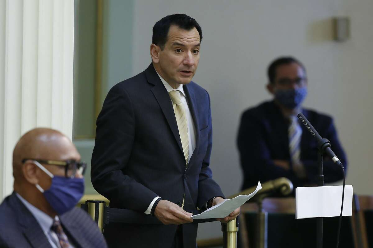 FILE - In this June 15, 2020, file photo, Assembly Speaker Anthony Rendon, D-Lakewood, urges lawmakers to approve the state budget bill, at the Capitol in Sacramento, Calif. Rendon said on Thursday, July 23, 2020, that lawmakers could vote by proxy for the final month of the legislative session. The move comes after a coronavirus outbreak in the legislature sickened at least seven people and put Republican Assemblyman Tom Lackey in the hospital. (AP Photo/Rich Pedroncelli, File)
