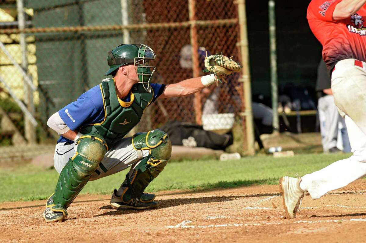 Albany Dutch catcher Jake Manderson is seen behind the plate during a game against the Glens Falls Independents at East Field Stadium on Monday, July 27, 2020 in Glens Falls, N.Y. (Lori Van Buren/Times Union7