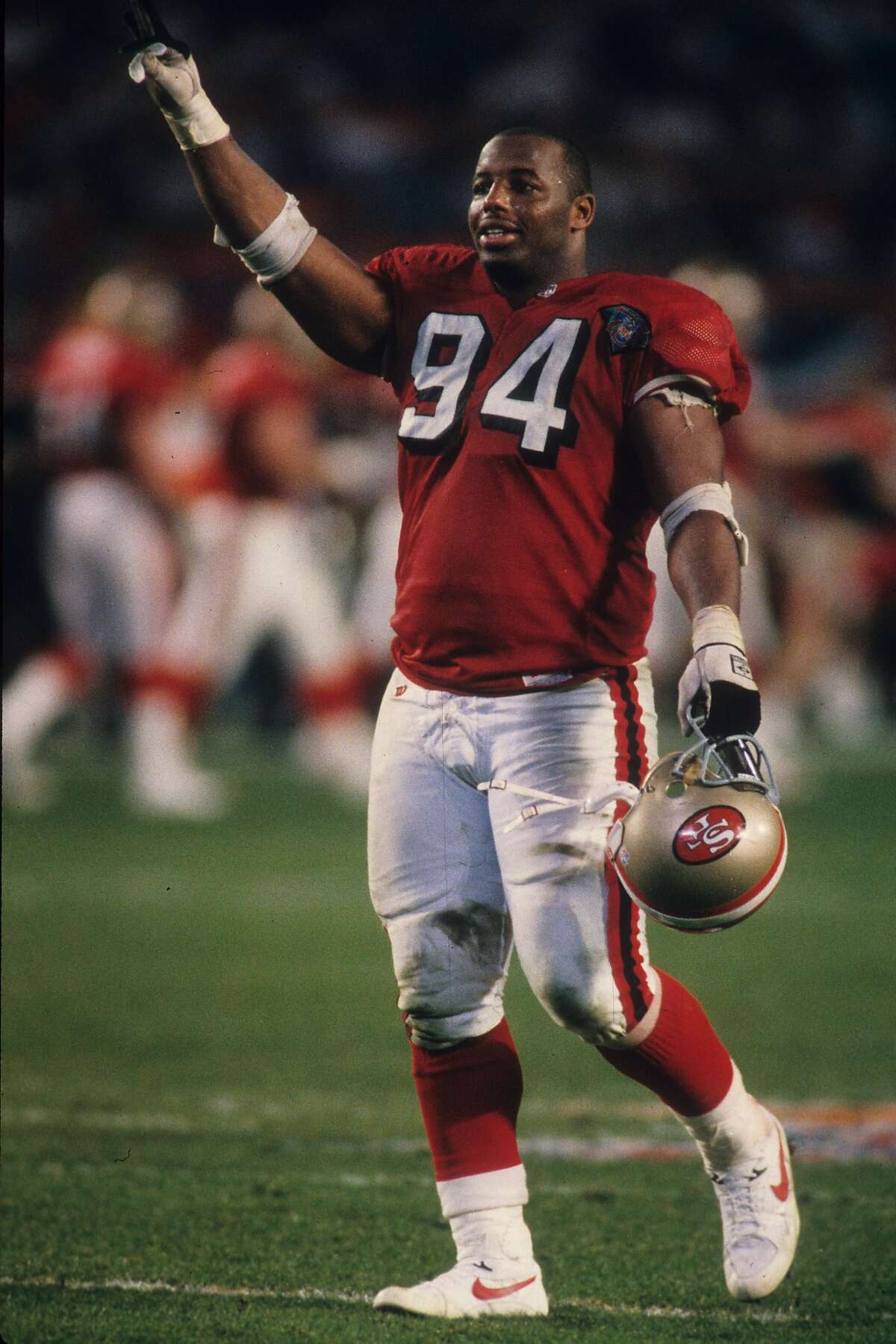 MIAMI, FL - JANUARY 29: Defensive tackle Dana Stubblefield #94 of the San Francisco 49ers celebrates against the San Diego Chargers in Super Bowl XXIX at Joe Robbie Stadium on January 29, 1995 in Miami, Florida. The 49ers defeated the Chargers 49-26. (Photo by Joseph Patronite /Getty Images)