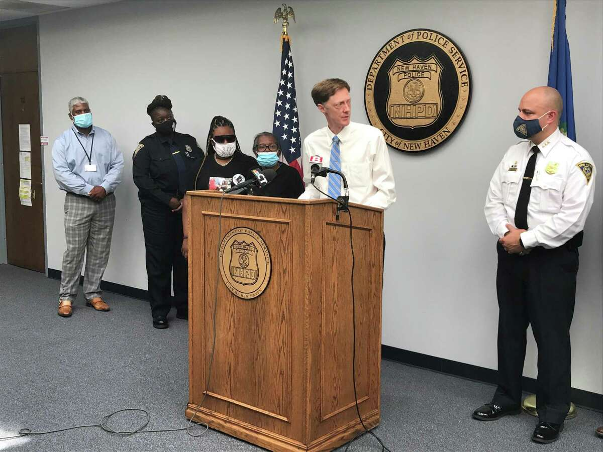 Mayor Justin Elicker at a July 27, 2020 press conference at New Haven Police headquarters to announce the arrest of Rashad Hardy.