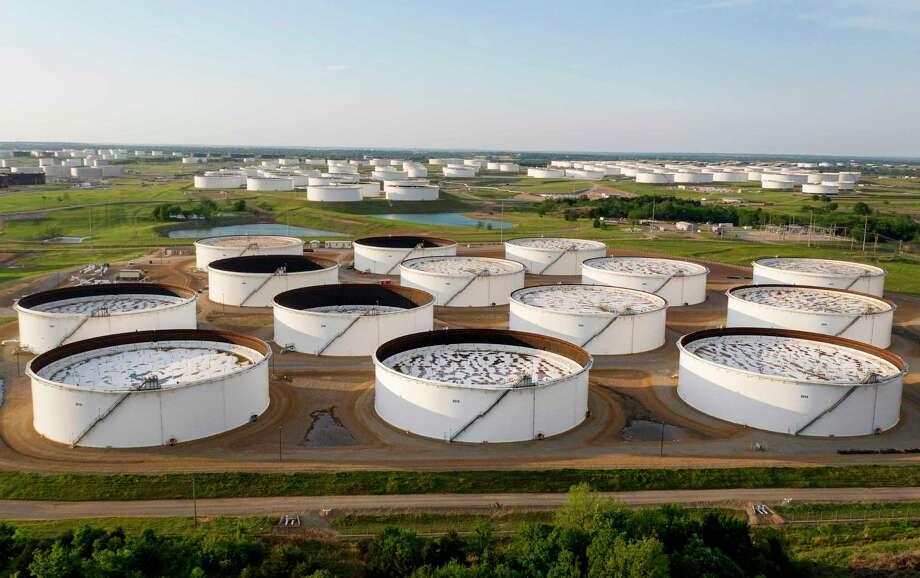 An aerial view of a crude oil storage facility using floating-roof tanks in Cushing, Oklahoma. Photo: JOHANNES EISELE, Contributor / AFP Via Getty Images / AFP or licensors