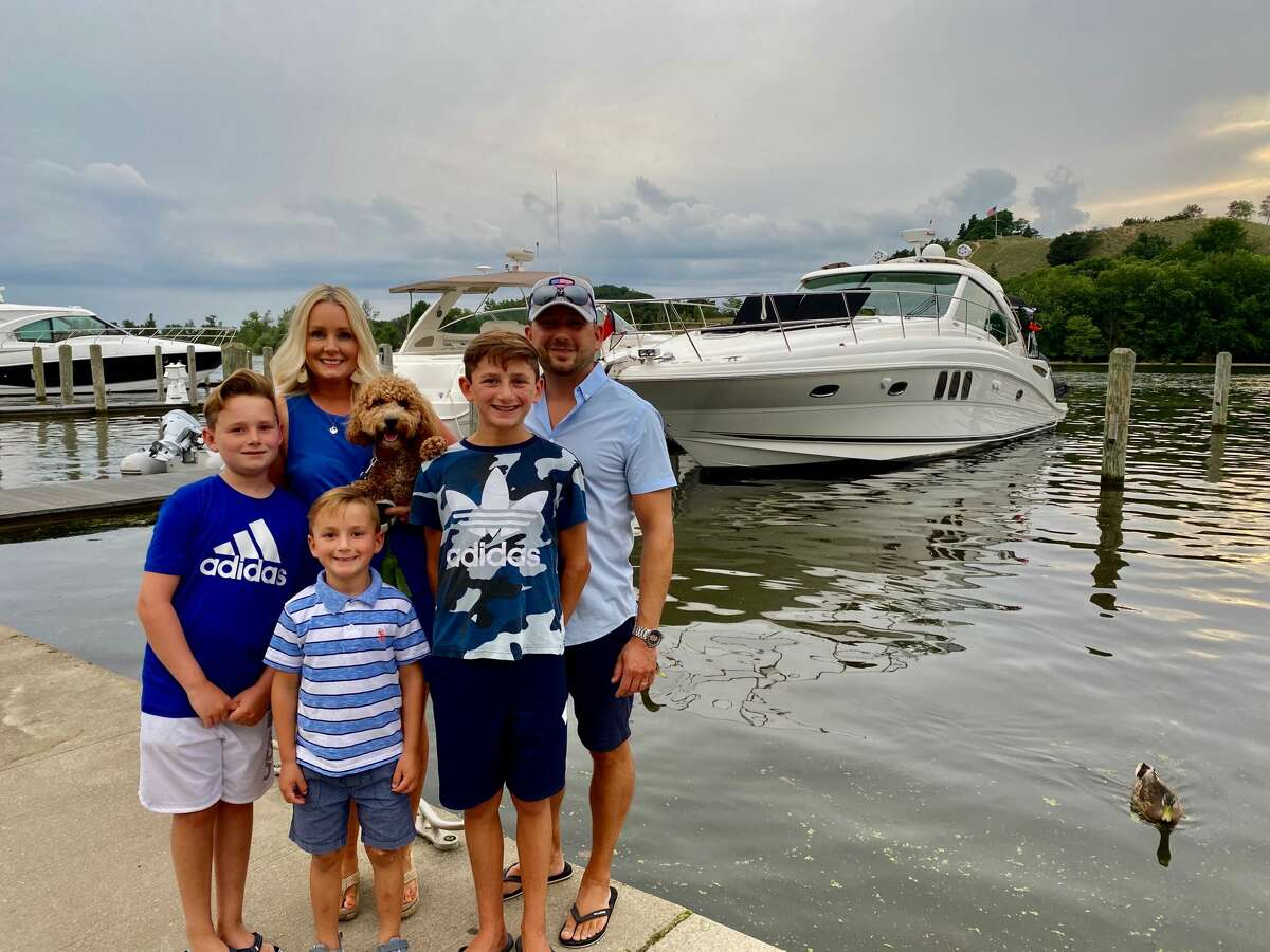 The Oberman family and their dog Roxy traveled along the Lake Michigan Lakeshore a few days prior to Roxy becoming lost on the lake.