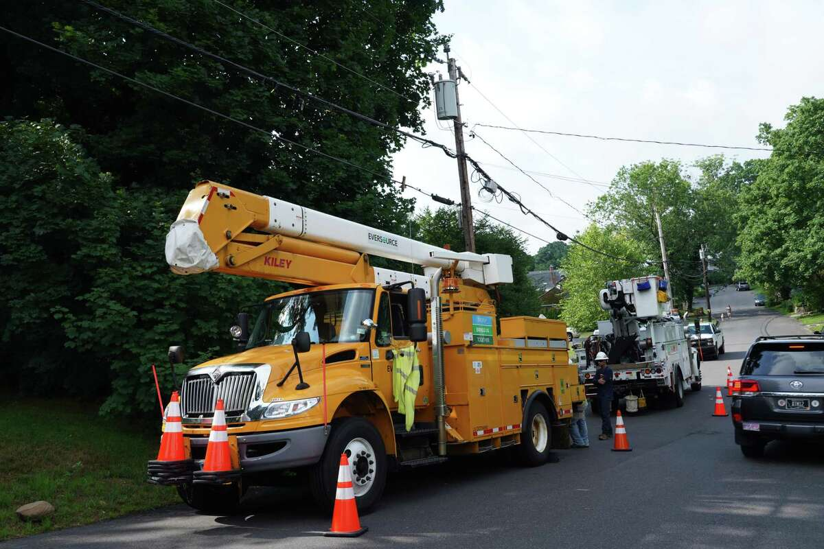 Eversource crews were out to repair wires earlier this month the morning after they had caught fire in a storm.