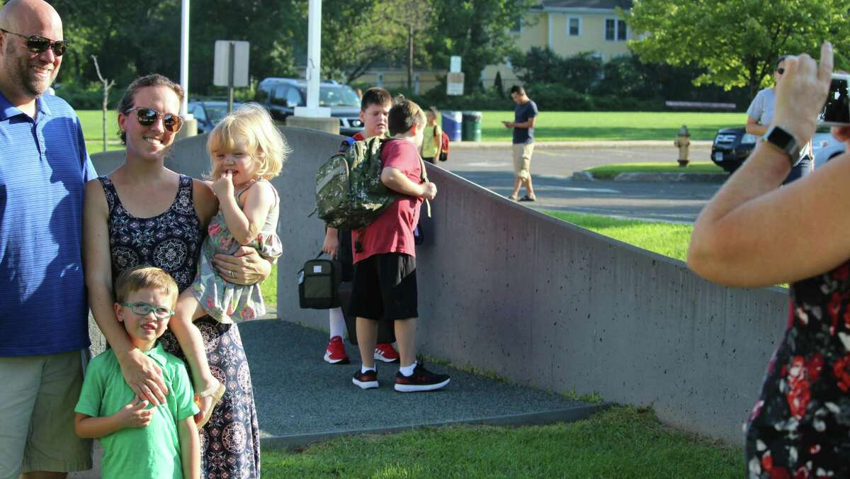 Posing for photos on the first day of school at McKinley Elementary School. Fairfield,CT. 8/30/18