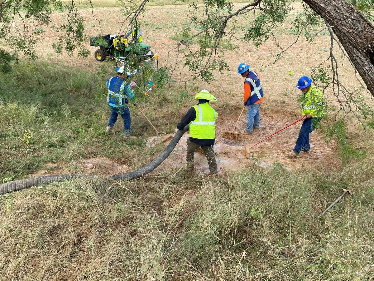 A cleanup crew was called out a construction site for Kinder Morgan's controversial Hill Country pipeline near Fredericksburg where drilling fluids came bubbling up to the surface at three different spots hundreds of feet away from the Pedernales River on Saturday, July 25th, 2020.