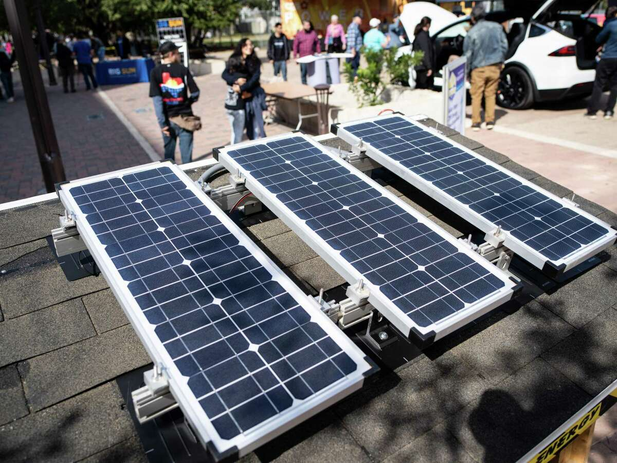 Solar panels configured by Solar Electric Texas generate power for the speakers used during Solar Fest 2019 in San Antonio, Texas on Friday, November 15, 2019.