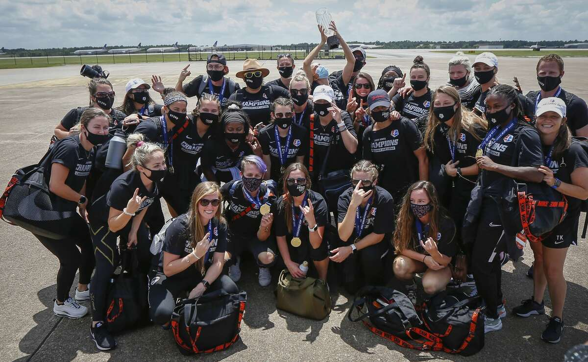 The Houston Dash returned home with the NWSL Challenge Cup championship trophy at Atlantic Aviation IAH on Monday, July 27, 2020.