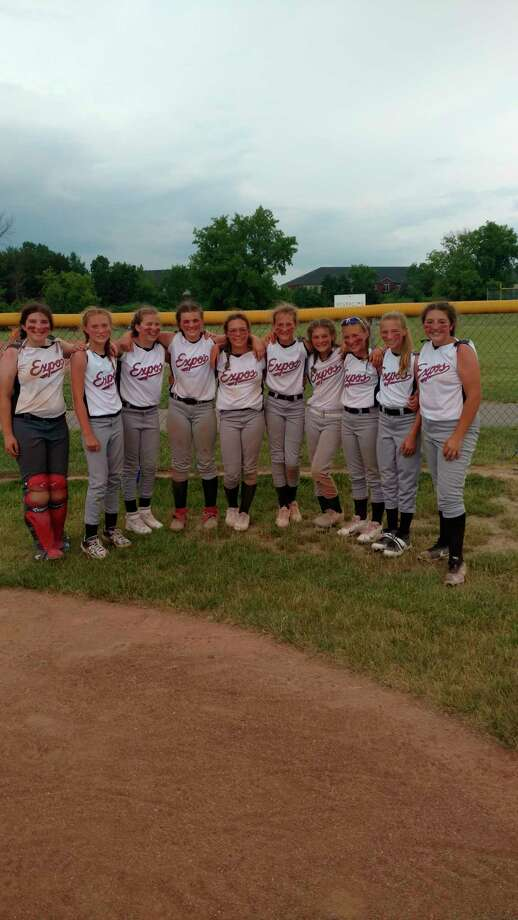 Local 12U Michigan Expos players include: Addie Edwards, Paityn Enos, Kayla Winters, Kylynn Thompson, Calli Duncan, Kyrah Gray, Jilly Decker, Keira Elder, Elizabeth Anderson and Mattisen Tiedt. Not pictured are coaches Shaun Gray and Aaron Anderson and players Ella Wilson and Savannah Buzzelli. (Courtesy photo)