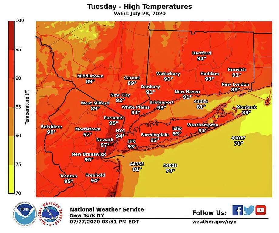 """Hot and humid conditions will continue today,"" the National Weather Service says. ""Highs should reach the middle to upper 90s. Photo: NWS Graphic"