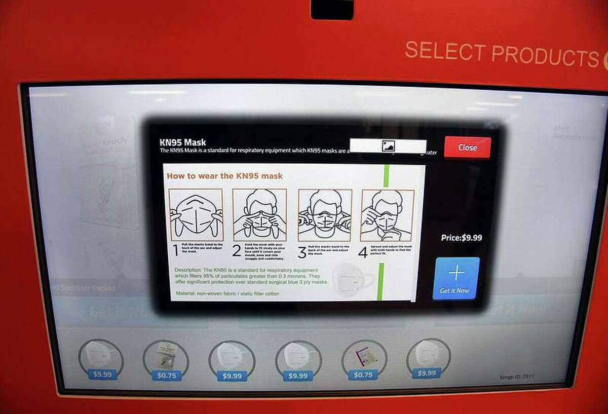 A screen shot of the personal protective equipment vending machines now being used in Metro-North Railroad train stations in New York.