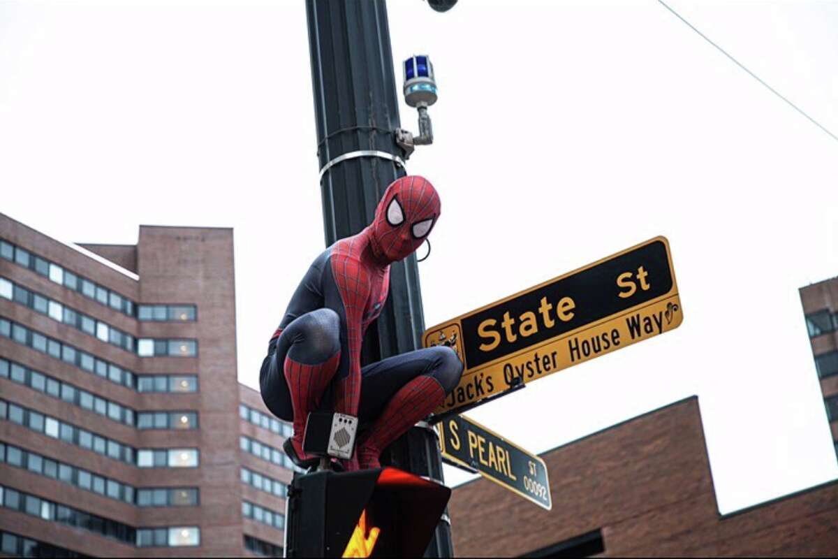 spider man on light post at corner of state st and pearl in Albany, new york