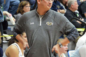 Father McGivney coach Jeff Oller looks to the court during a game from the Griffins' 27-8 finish that brought Class 1A regional and sectional championships. Oller is 2020 Telegraph Small-Schools Girls Basketball Coach of the Year.