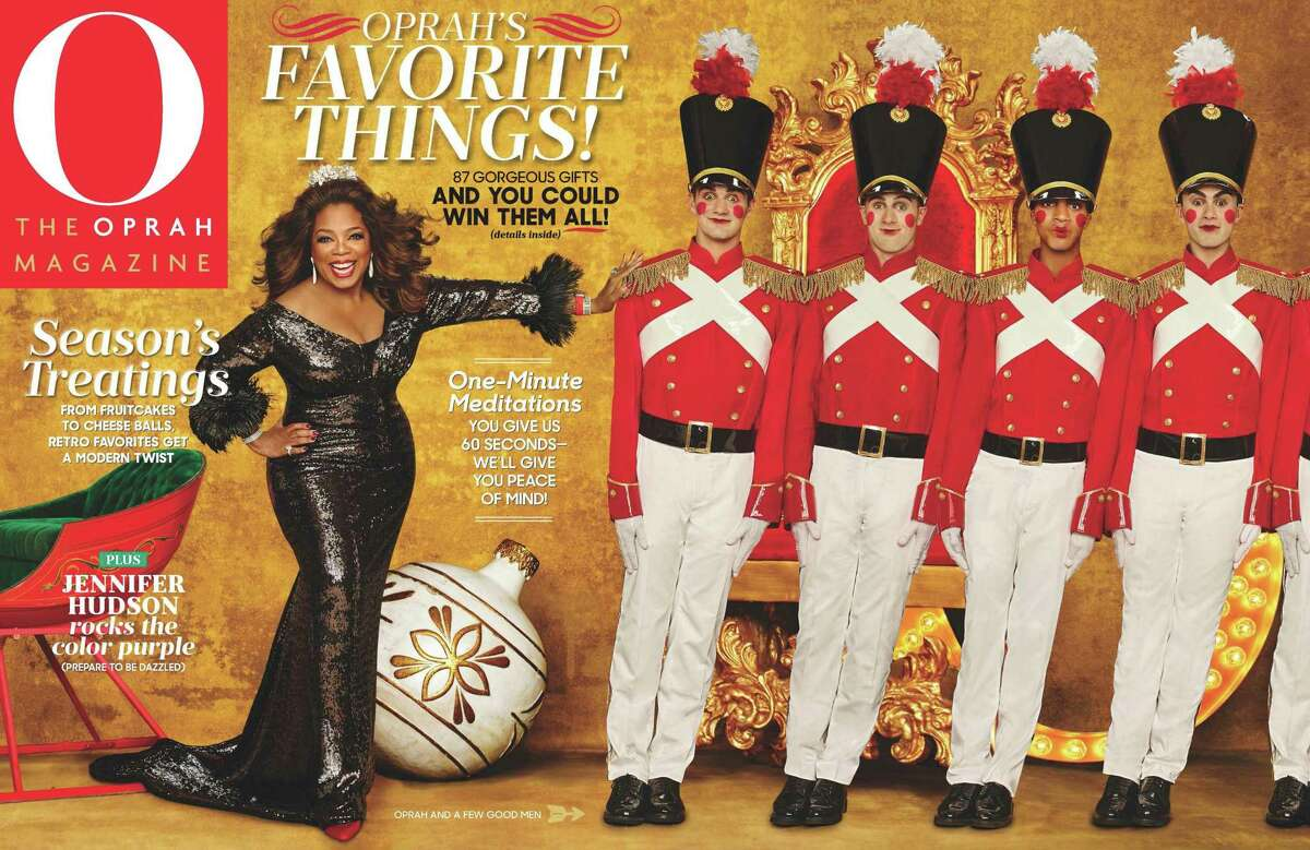 """This image released by Hearst Publications shows """"O, The Oprah Magazine,"""" December 2015 issue featuring Oprah's favorite things. The brand, which is among the most recognizable magazines in the U.S., is not going away but will become more """"more digitally-centric,"""" a Hearst spokeswoman said Monday."""