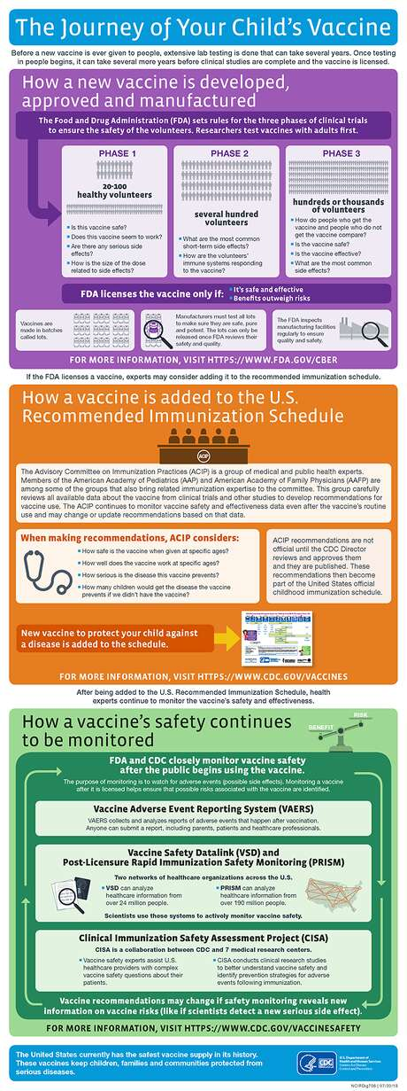 The CDC (Center for Disease Control) illustrates the process of vaccine creation. Photo: CDC