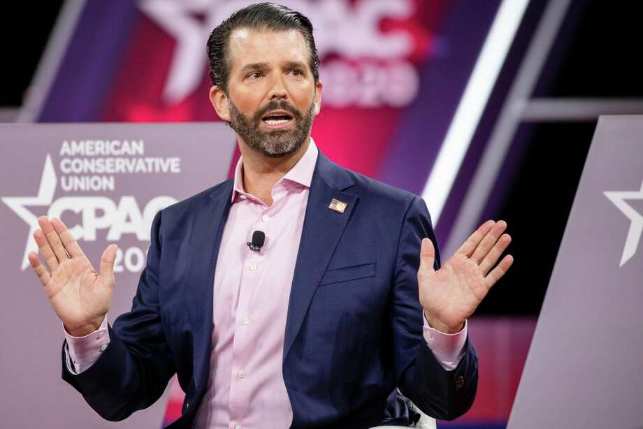 Donald Trump Jr. speaks on stage during the 2020 CPAC in National Harbor, Maryland. Photo: Samuel Corum/Getty Images